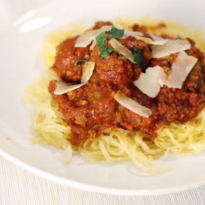 Spagetti Squas með kjötbollum