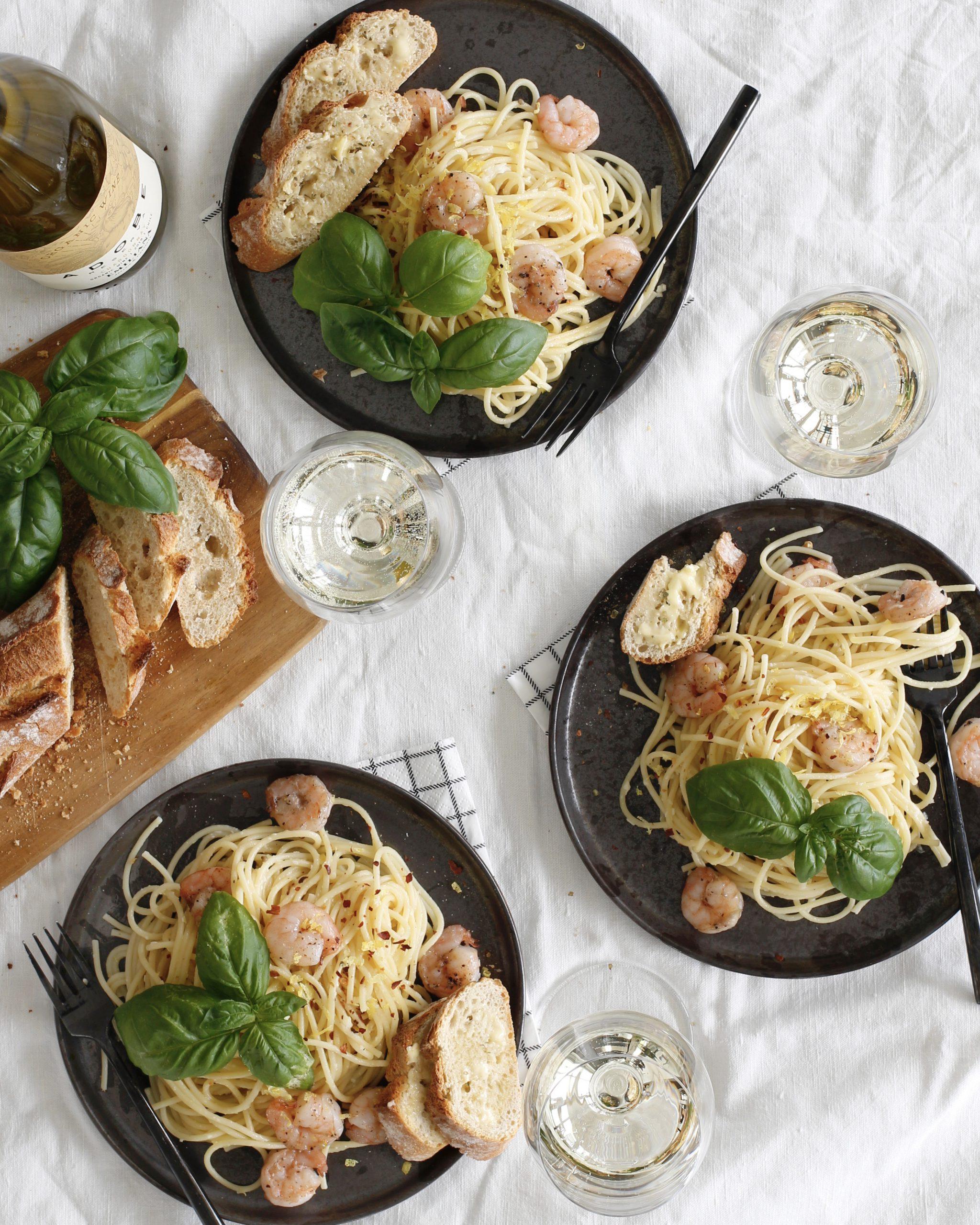 Sítrónu risarækju spagettí