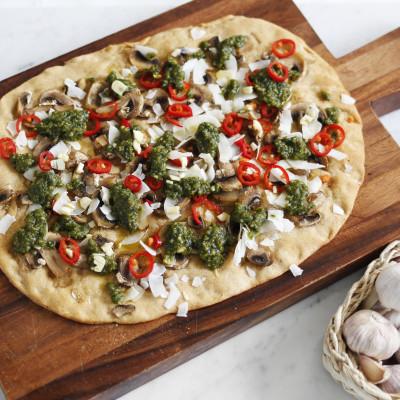 vegan pestó pizza