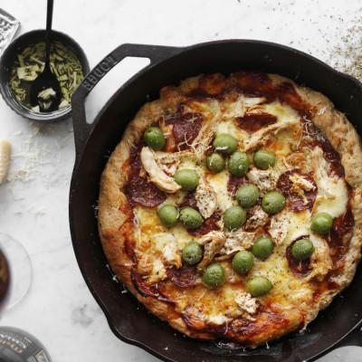 pönnu pizza uppskrift