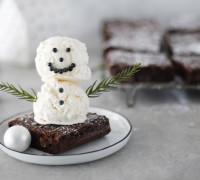 Brownie með vanillu snjókalli