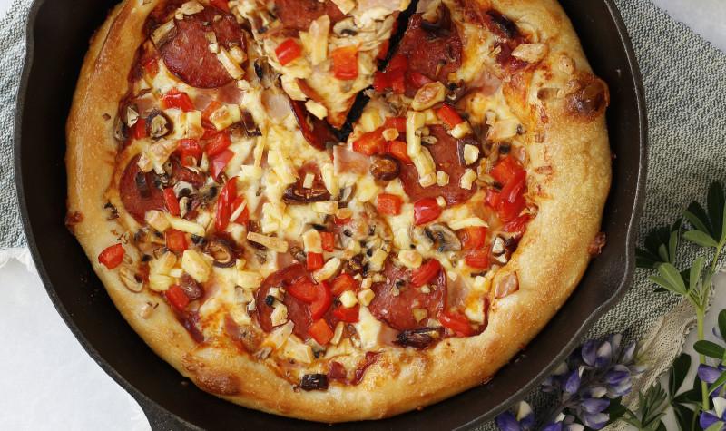 Grilluð pönnu pizza