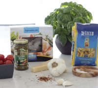 Rjómalagað basil pestó pasta með risarækjum