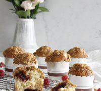 Hindberjasultu fylltar muffins